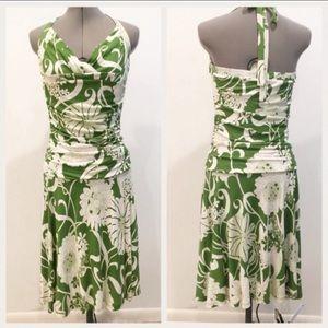 Anthro Ric Rac Green Botanical Halter Dress Size M